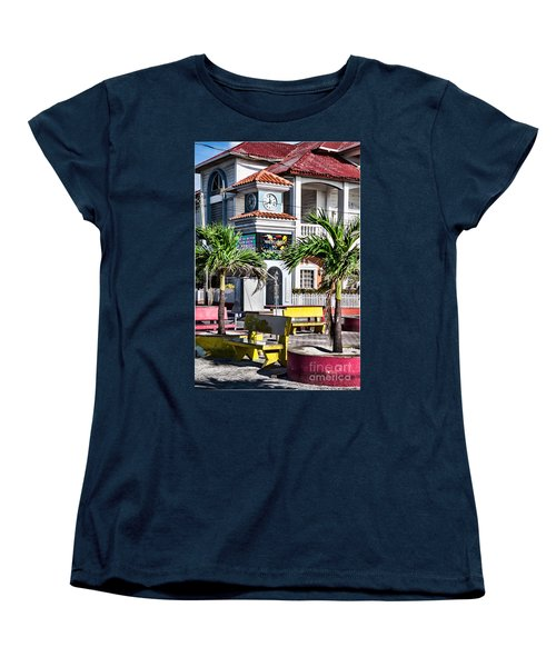 San Pedro Town Plaza Women's T-Shirt (Standard Cut) by Lawrence Burry