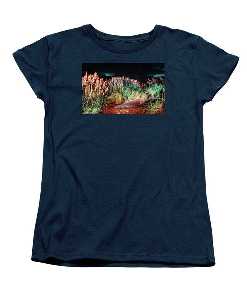 Women's T-Shirt (Standard Cut) featuring the painting Sand Dunes At Night On The Outer Banks Ap by Dan Carmichael