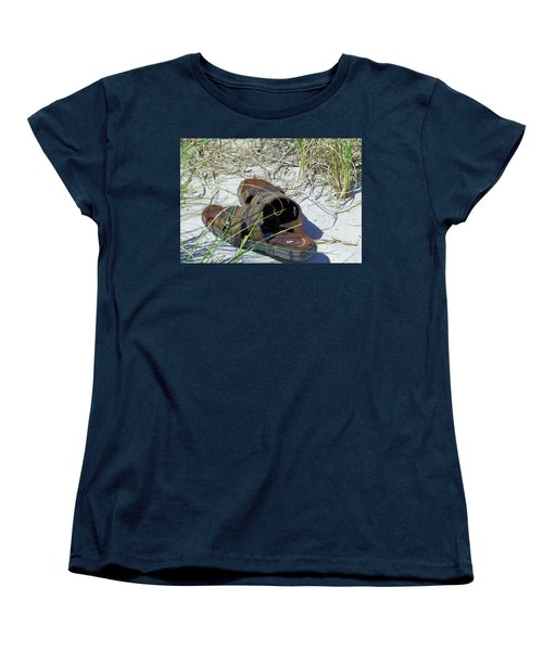 Women's T-Shirt (Standard Cut) featuring the photograph Sandals In The Sand by Cathy Harper