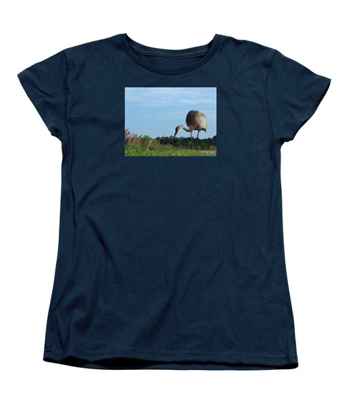 Sandhill Crane 018 Women's T-Shirt (Standard Cut) by Chris Mercer