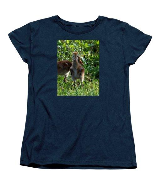 Sandhill Crane Chick 086  Women's T-Shirt (Standard Cut) by Chris Mercer