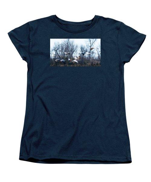 Sandhill Crane In Flight Women's T-Shirt (Standard Cut) by Edward Peterson