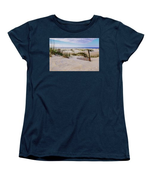 Sand  Fences On The Bogue Banks 2 Women's T-Shirt (Standard Cut) by John Harding