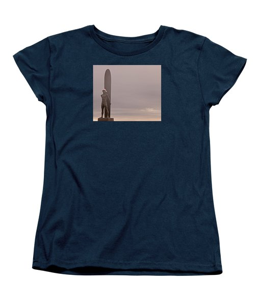 Women's T-Shirt (Standard Cut) featuring the photograph Santa Cruz Santa Surfer  by Lora Lee Chapman