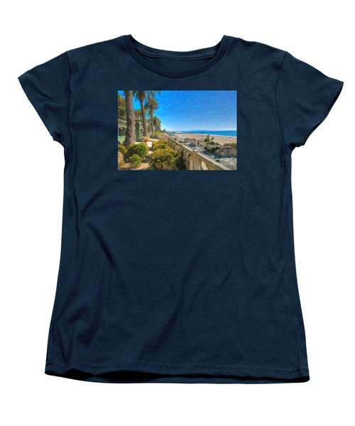 Santa Monica Ca Palisades Park Bluffs Gold Coast Luxury Houses Women's T-Shirt (Standard Cut) by David Zanzinger