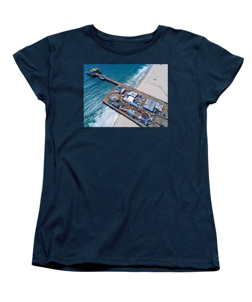 Santa Monica Pier From Above Side Women's T-Shirt (Standard Cut) by Andrew Mason