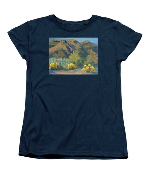 Women's T-Shirt (Standard Cut) featuring the painting Santa Rosa Mountains And Brittle Bush by Diane McClary