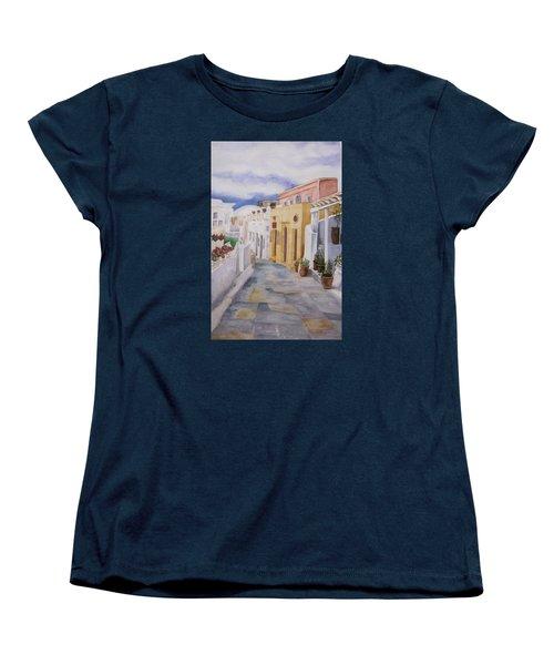 Santorini Cloudy Day Women's T-Shirt (Standard Cut) by Teresa Beyer