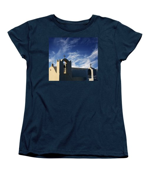 Women's T-Shirt (Standard Cut) featuring the photograph Santorini Greece Architectual Line 3 by Bob Christopher