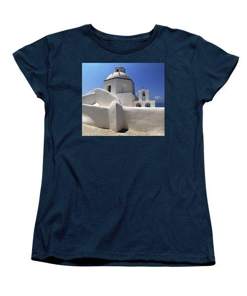 Women's T-Shirt (Standard Cut) featuring the photograph Santorini Greece Architectual Line 4 by Bob Christopher