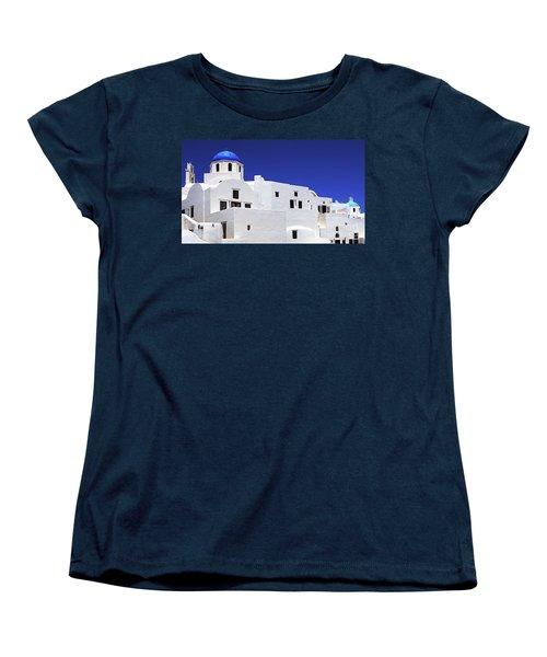 Women's T-Shirt (Standard Cut) featuring the photograph Santorini Greece Architectual Line 6 by Bob Christopher