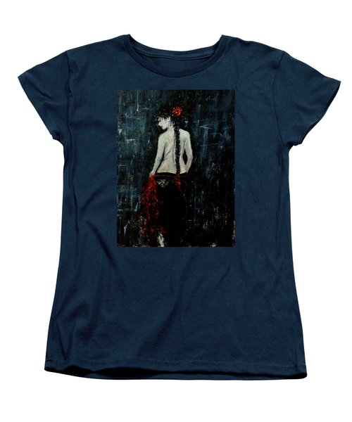 Women's T-Shirt (Standard Cut) featuring the painting Saturday Evening  by Cristina Mihailescu