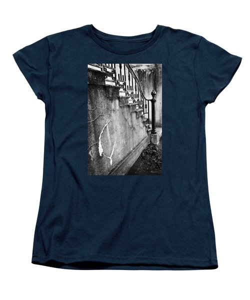 Savannah Stairway Black And White Women's T-Shirt (Standard Cut) by Renee Sullivan