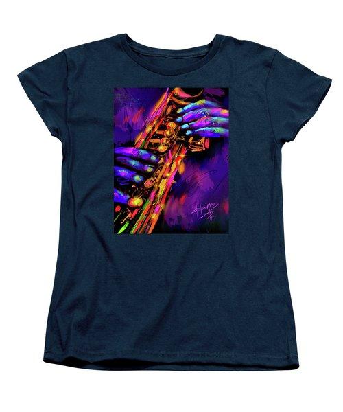 Saxy Hands Women's T-Shirt (Standard Cut) by DC Langer
