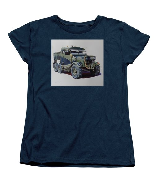 Women's T-Shirt (Standard Cut) featuring the painting Scammell Pioneer Wrecker. by Mike  Jeffries