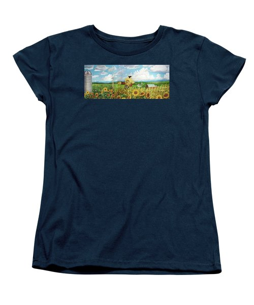Scare Crow And Silo Farm Women's T-Shirt (Standard Cut) by Bonnie Siracusa