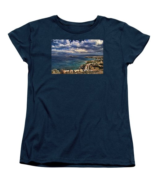 Scenic View Of Eastern Crete Women's T-Shirt (Standard Cut) by David Smith