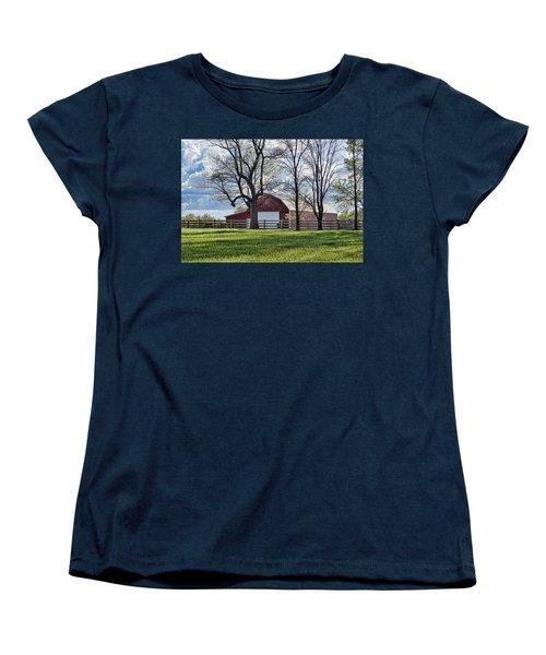 Women's T-Shirt (Standard Cut) featuring the photograph Schooler Road Barn by Cricket Hackmann