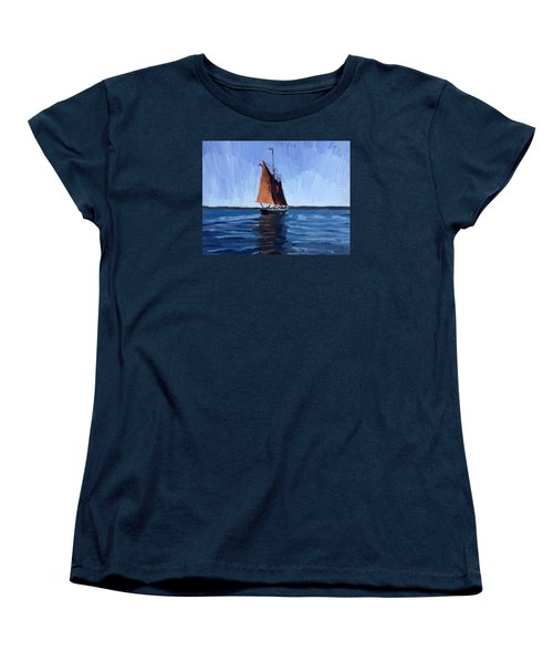 Schooner Roseway In Gloucester Harbor Women's T-Shirt (Standard Cut) by Melissa Abbott