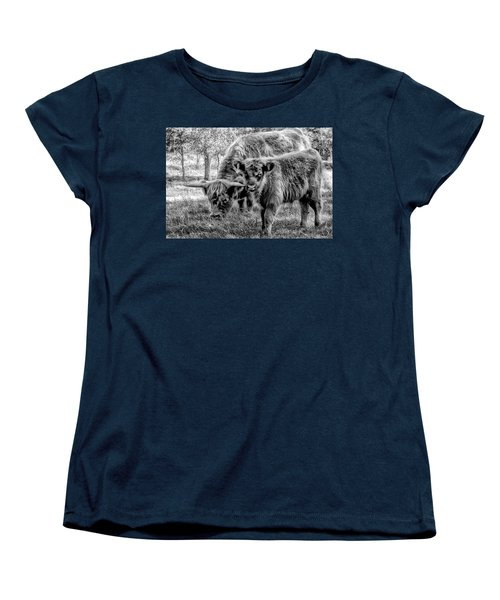 Scottish Highland Cattle Black And White Women's T-Shirt (Standard Cut) by Constantine Gregory