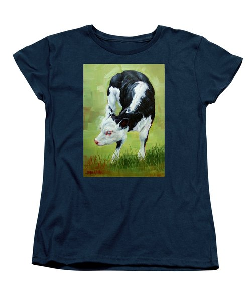 Women's T-Shirt (Standard Cut) featuring the painting Scratching Calf by Margaret Stockdale