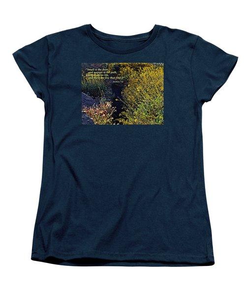Women's T-Shirt (Standard Cut) featuring the photograph Scripture - Matthew 7 Verse 14 by Glenn McCarthy Art and Photography