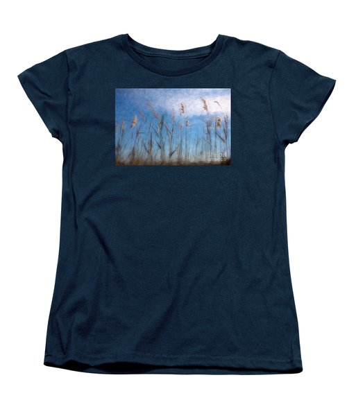 Women's T-Shirt (Standard Cut) featuring the painting Sea Oats And Sky On Outer Banks Ap by Dan Carmichael