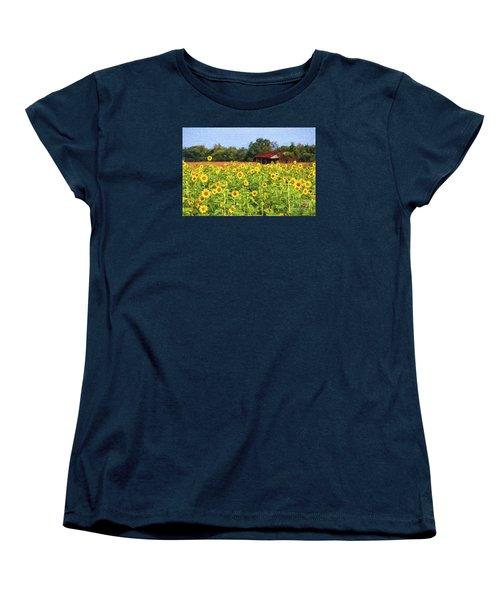 Sea Of Sunflowers Women's T-Shirt (Standard Cut) by Bonnie Barry