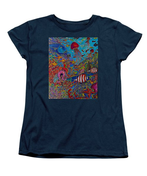 Women's T-Shirt (Standard Cut) featuring the painting Sea World by Rae Chichilnitsky