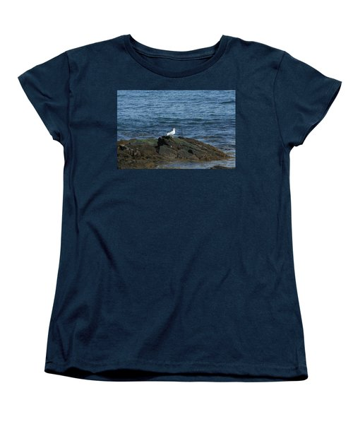 Women's T-Shirt (Standard Cut) featuring the digital art Seagull On The Rocks by Barbara S Nickerson