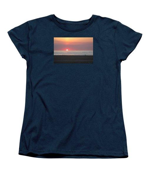 Women's T-Shirt (Standard Cut) featuring the photograph Seagull Watching Sunrise by Robert Banach