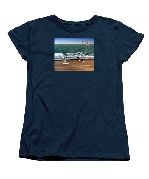 Women's T-Shirt (Standard Cut) featuring the painting Seagulls 2 by Natalia Tejera