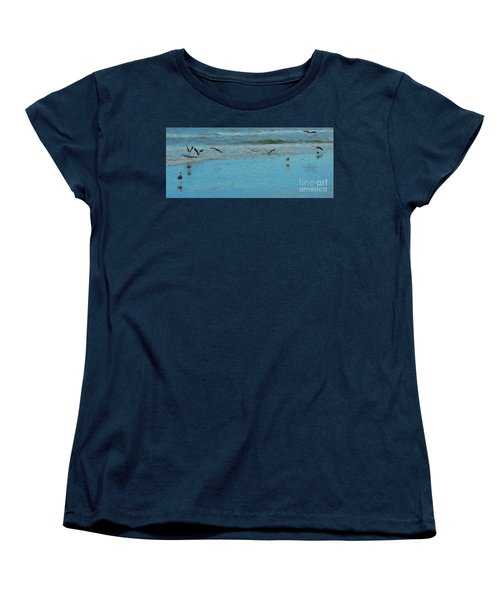 Women's T-Shirt (Standard Cut) featuring the photograph Seagulls At Myrtle Beach by Mim White