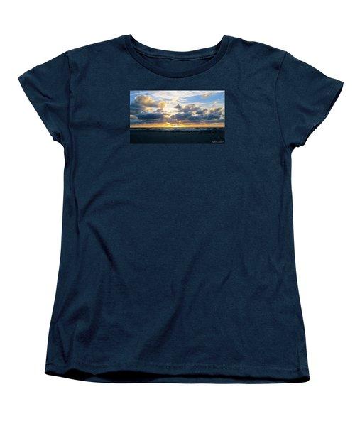 Women's T-Shirt (Standard Cut) featuring the photograph Seagulls On The Beach At Sunrise by Robert Banach