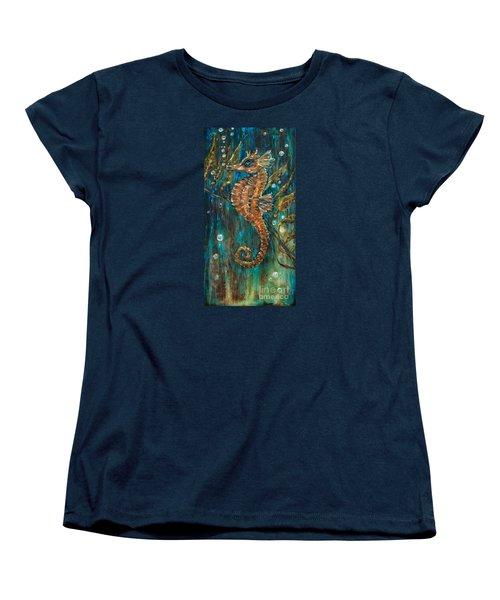 Seahorse And Kelp Women's T-Shirt (Standard Cut) by Linda Olsen