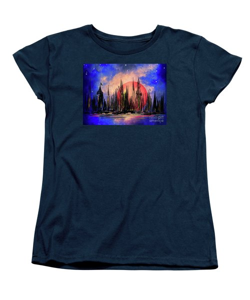 Women's T-Shirt (Standard Cut) featuring the drawing Seaport by Andrzej Szczerski