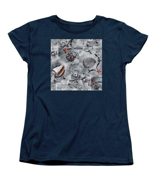 Seashells Collage Of Any Color Women's T-Shirt (Standard Cut) by Irina Sztukowski