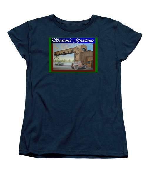 Women's T-Shirt (Standard Cut) featuring the painting Season's Greetings Old Mine by Stuart Swartz
