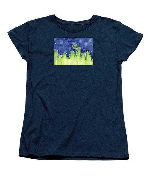 Seattle Night Sky Watercolor Women's T-Shirt (Standard Cut) by Olga Shvartsur
