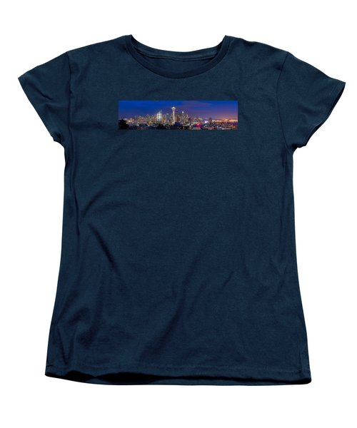 Seattle Night View Women's T-Shirt (Standard Cut) by Ken Stanback