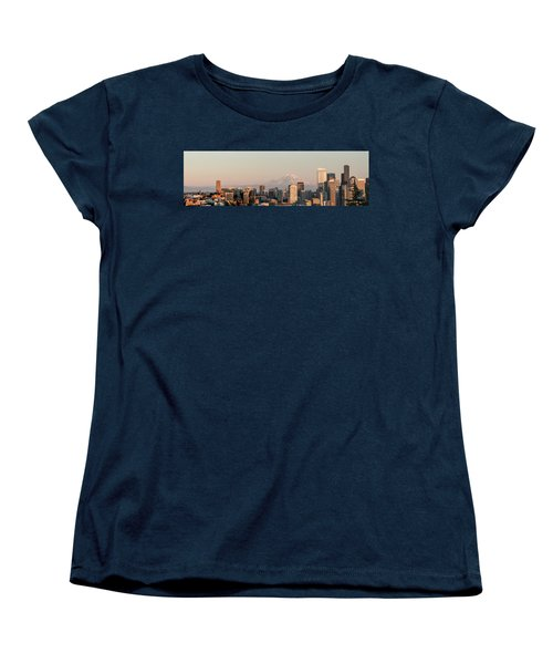 Seattle Panorama At Dusk Women's T-Shirt (Standard Cut) by E Faithe Lester