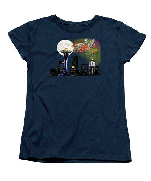 Seattle Skyline Women's T-Shirt (Standard Cut) by Methune Hively
