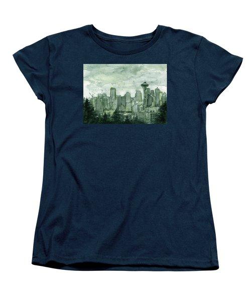 Seattle Skyline Watercolor Space Needle Women's T-Shirt (Standard Cut) by Olga Shvartsur