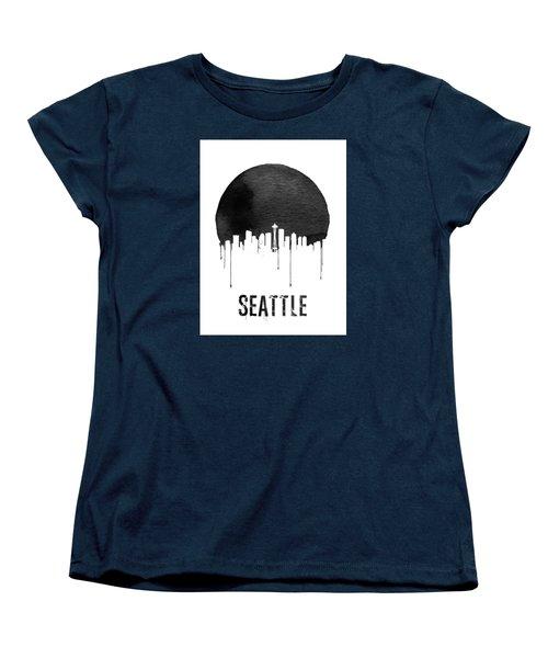 Seattle Skyline White Women's T-Shirt (Standard Cut) by Naxart Studio