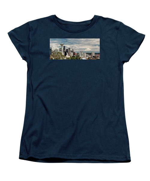 Seattle Space Needle With Mt. Rainier Women's T-Shirt (Standard Cut) by Tony Locke