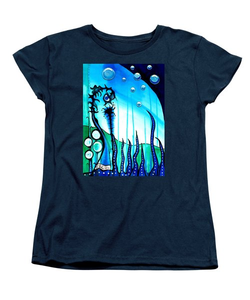 Women's T-Shirt (Standard Cut) featuring the painting Seaweed - Art By Dora Hathazi Mendes by Dora Hathazi Mendes