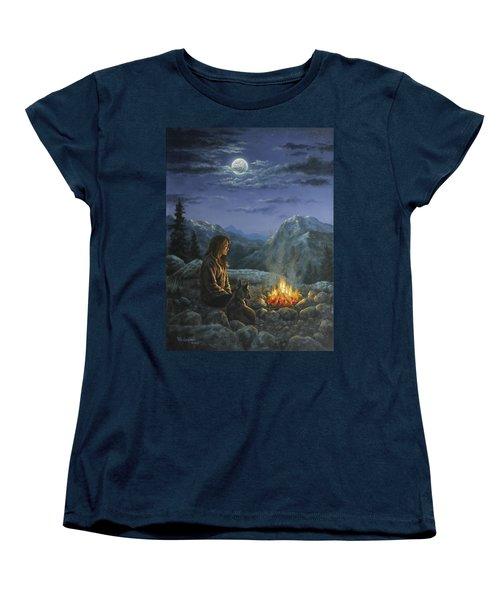 Women's T-Shirt (Standard Cut) featuring the painting Seeking Solace by Kim Lockman