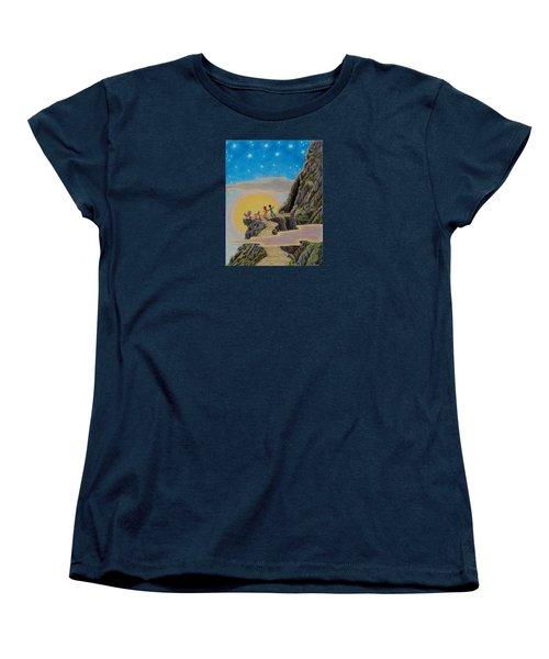 Women's T-Shirt (Standard Cut) featuring the painting Seeking The Dragons Vast Treasure by Matt Konar