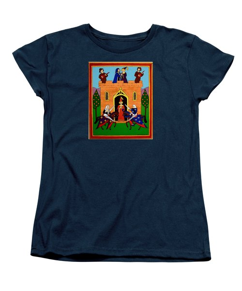 Women's T-Shirt (Standard Cut) featuring the painting Seige Of The Castle Of Love by Stephanie Moore