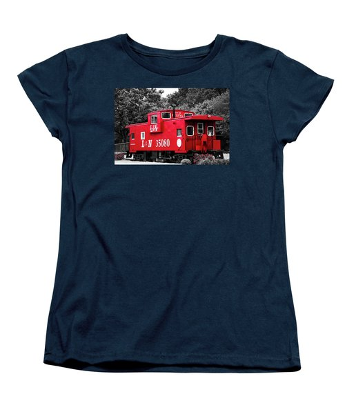 Women's T-Shirt (Standard Cut) featuring the photograph Selective Color Red Caboose by Parker Cunningham